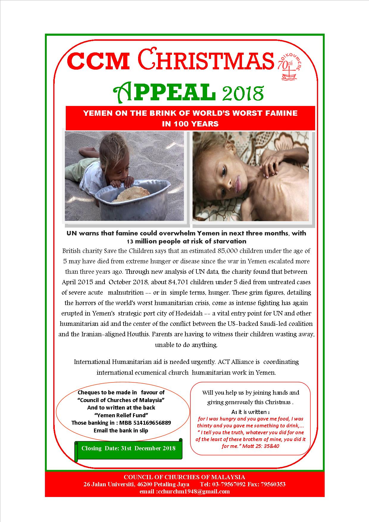 CCM Christmas Appeal 2018 – Yemen Appeal Fund   Council of Churches
